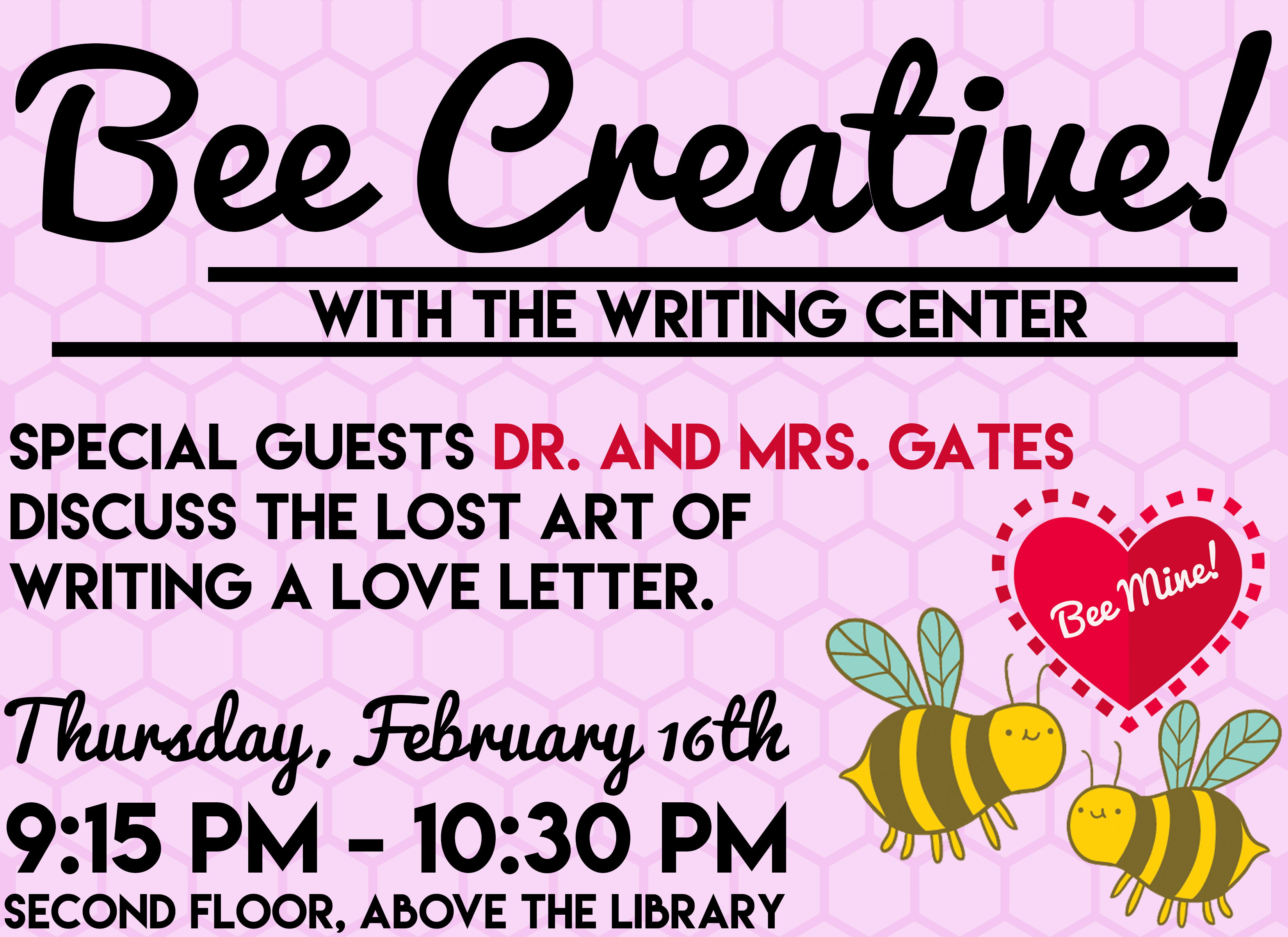 Our next Get Creative event at Nyack College Writing Center, Rockland Campus, will be featuring Dr. & Mrs. Jonathan Gates as the presenters. It is on Thursday, February 16th, 2017.