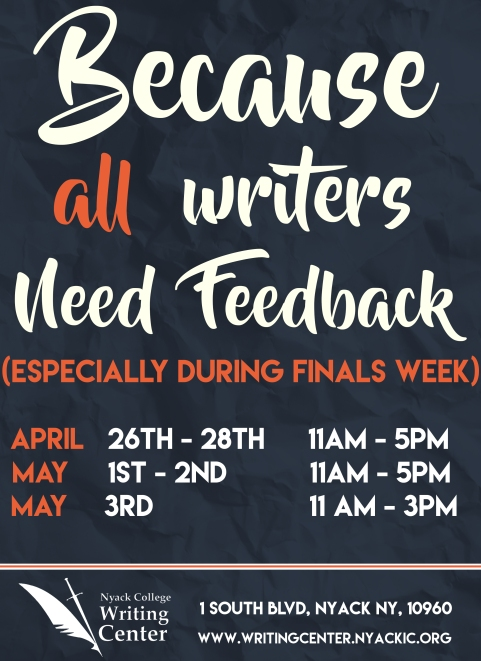 Nyack College Writing Center_Rockland Finals Hours_Spring 2017