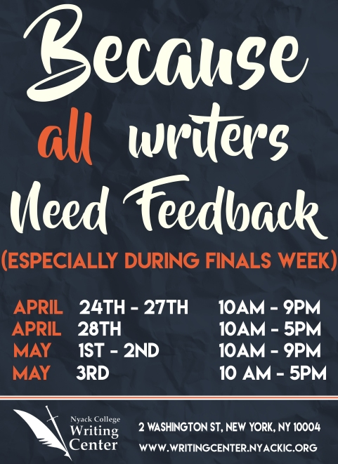 Nyack College Writing Center_NYC Finals Hours_Spring 2017