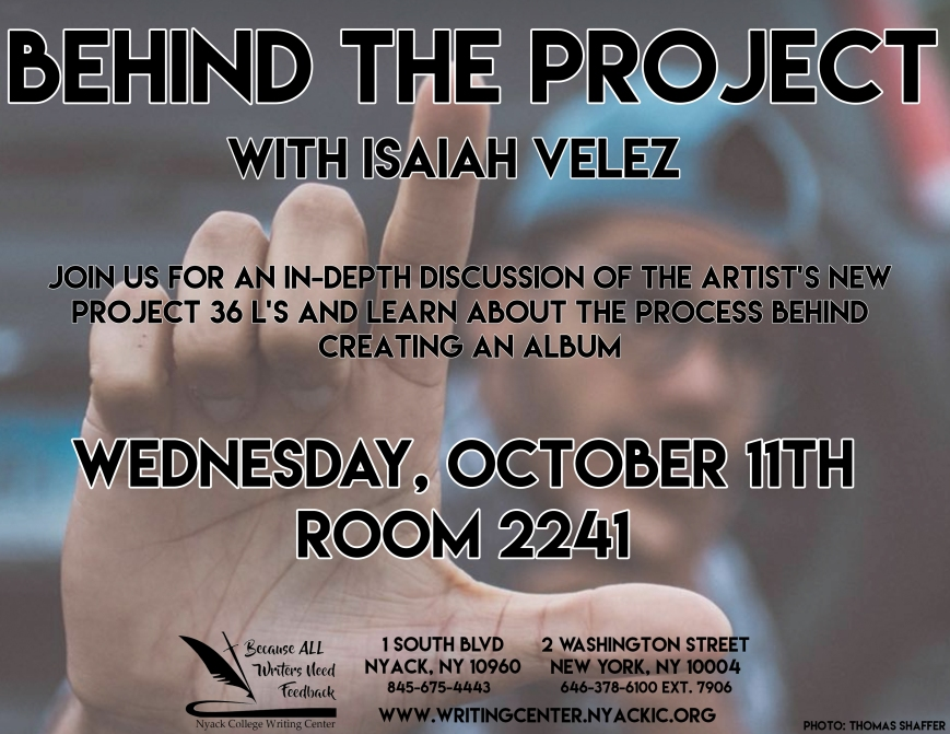 Nyack College Writing Center's next Get Creative Event is featuring Isaiah Velez at the NYC Campus on Wednesday, October 11th, 2017.