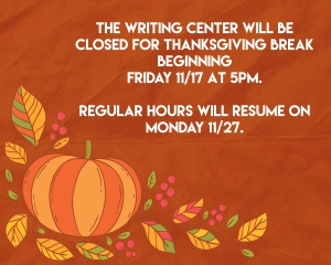 Nyack College Writing Center_Thanksgiving break 2017
